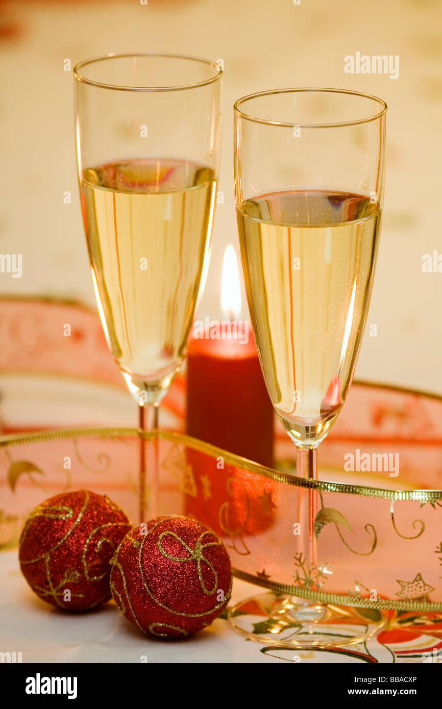 Adornos de Navidad Champán y velas ornements de Noël Bougies et Champagne Photo Stock