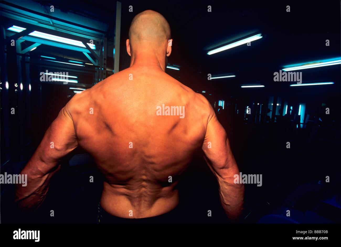 Exercices de Body builder vigoureusement Photo Stock