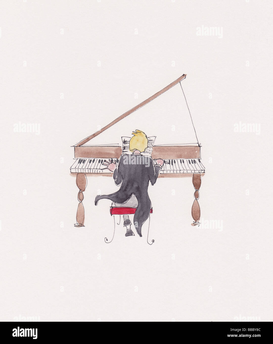 Illustration à l'aquarelle d'un homme jouant un grand piano Photo Stock