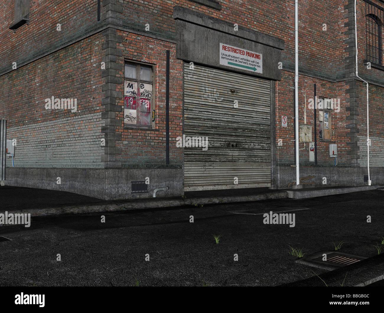 Illustration 3D d'une ruelle Photo Stock