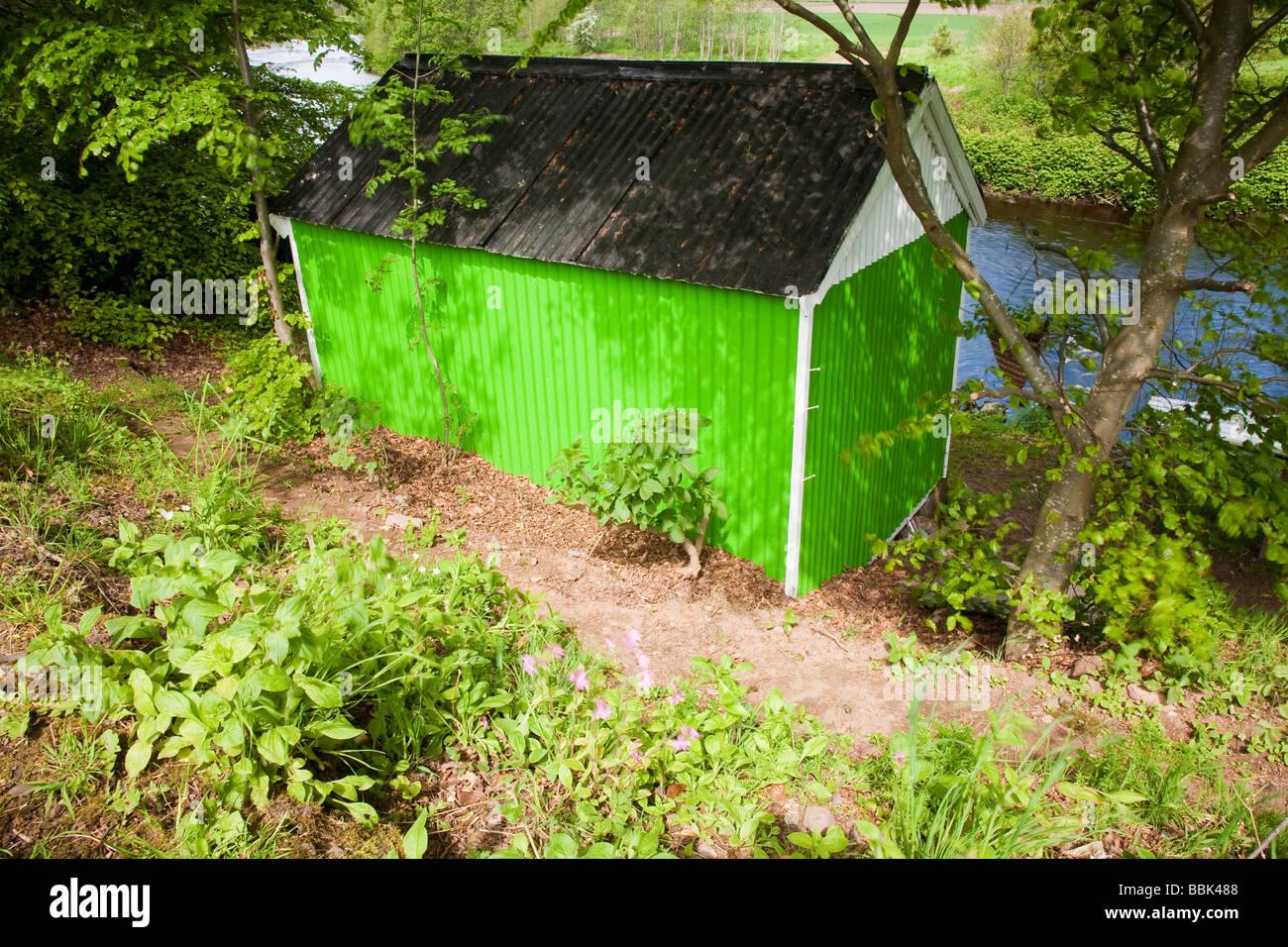 Cabane de pêche sur la rivière Verte, gagner, Ecosse Photo Stock