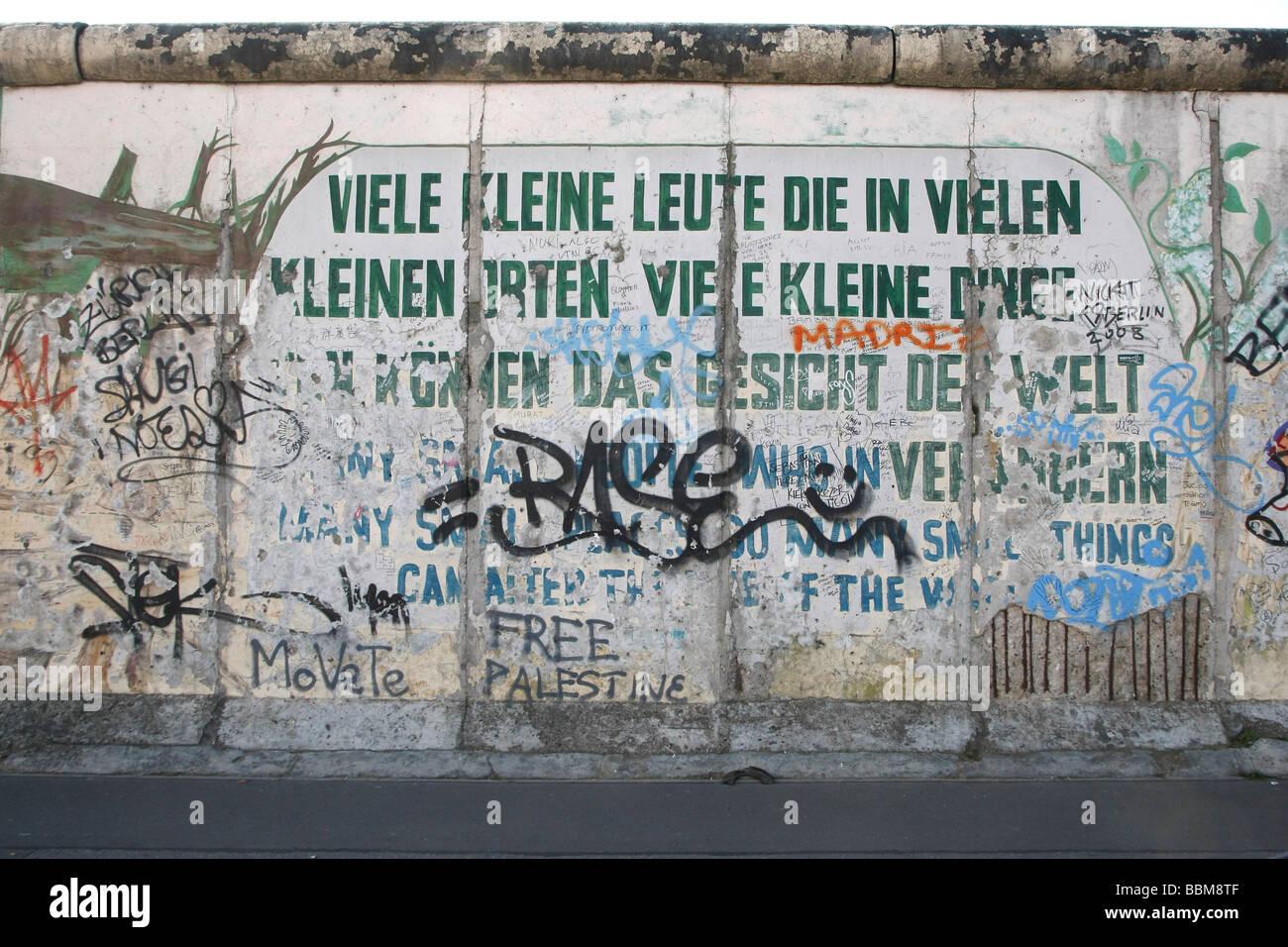 East Side Gallery, reste du mur de Berlin, Berlin, Allemagne Photo Stock