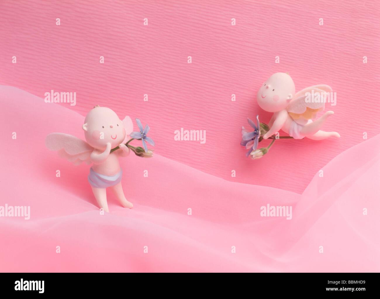 Poupées avec les ailes d'ange, high angle view, close-up Banque D'Images
