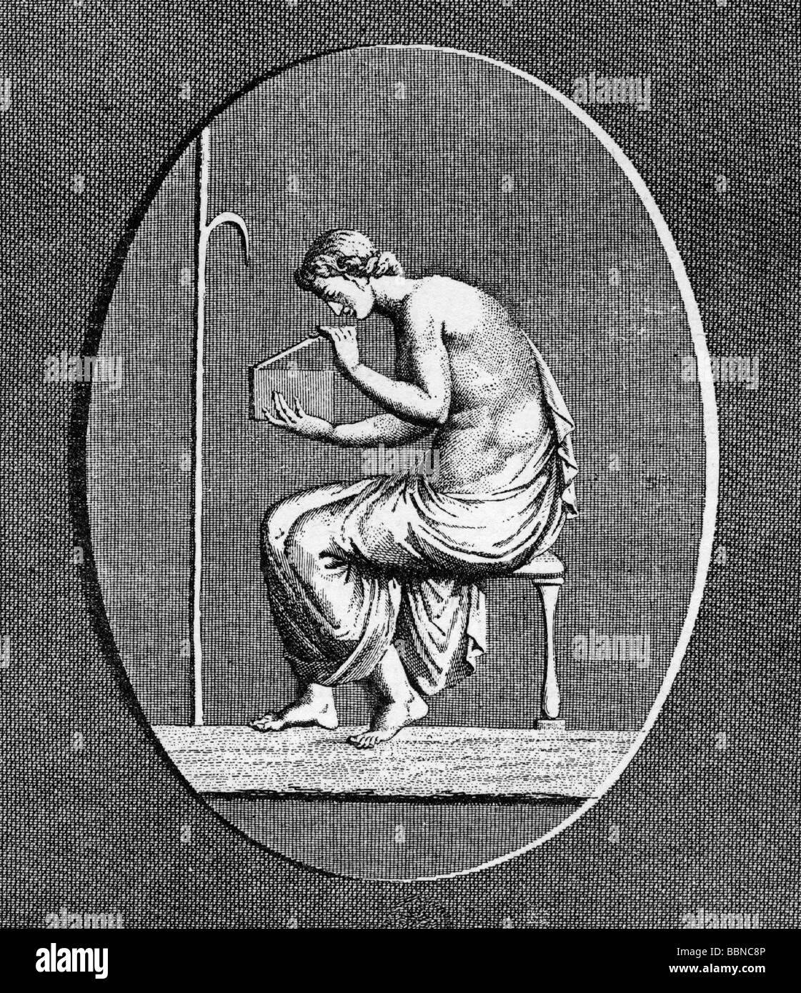 Pandora ('dispensateur de tout, tous les nantis'), Grec goddes, la mythologie, l'ouverture de la boîte Photo Stock