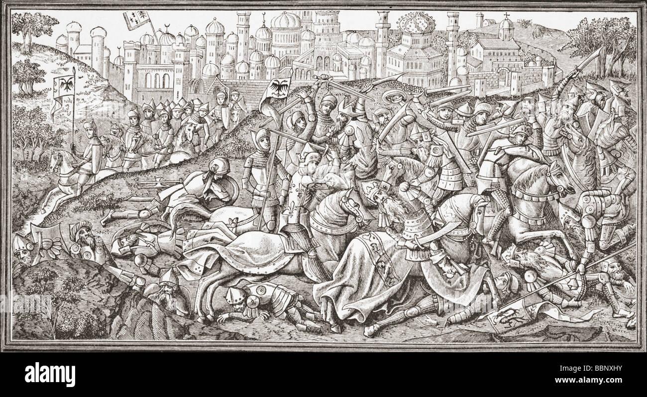 Conquête de Jérusalem par Charlemagne aka ou Carolus Magnus Magnus Karolus ou Charles le Grand 742 à 814 Roi des Banque D'Images