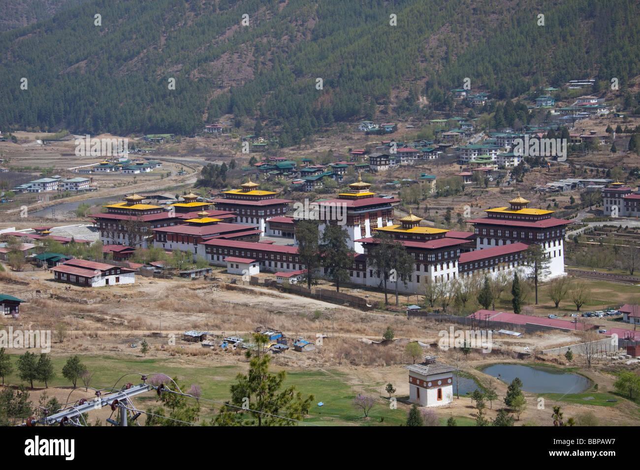 Palais Royal du Roi du Bhoutan building Tashi Chho Dzong Thimphu 91074_Bhutan-Thimphu Photo Stock