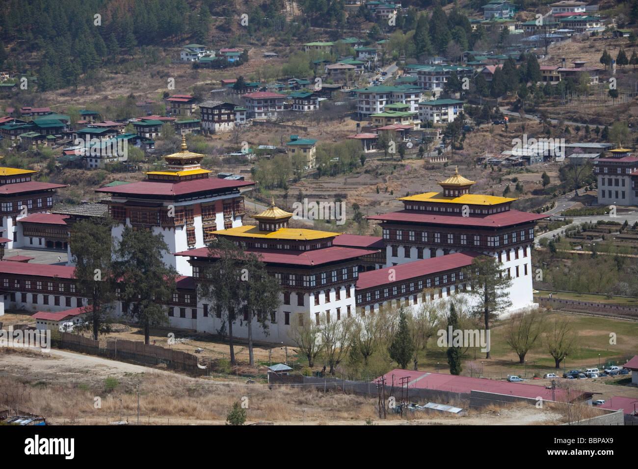 Palais Royal du Roi du Bhoutan Tashi Chho Dzong Thimphu bâtiment Photo Stock