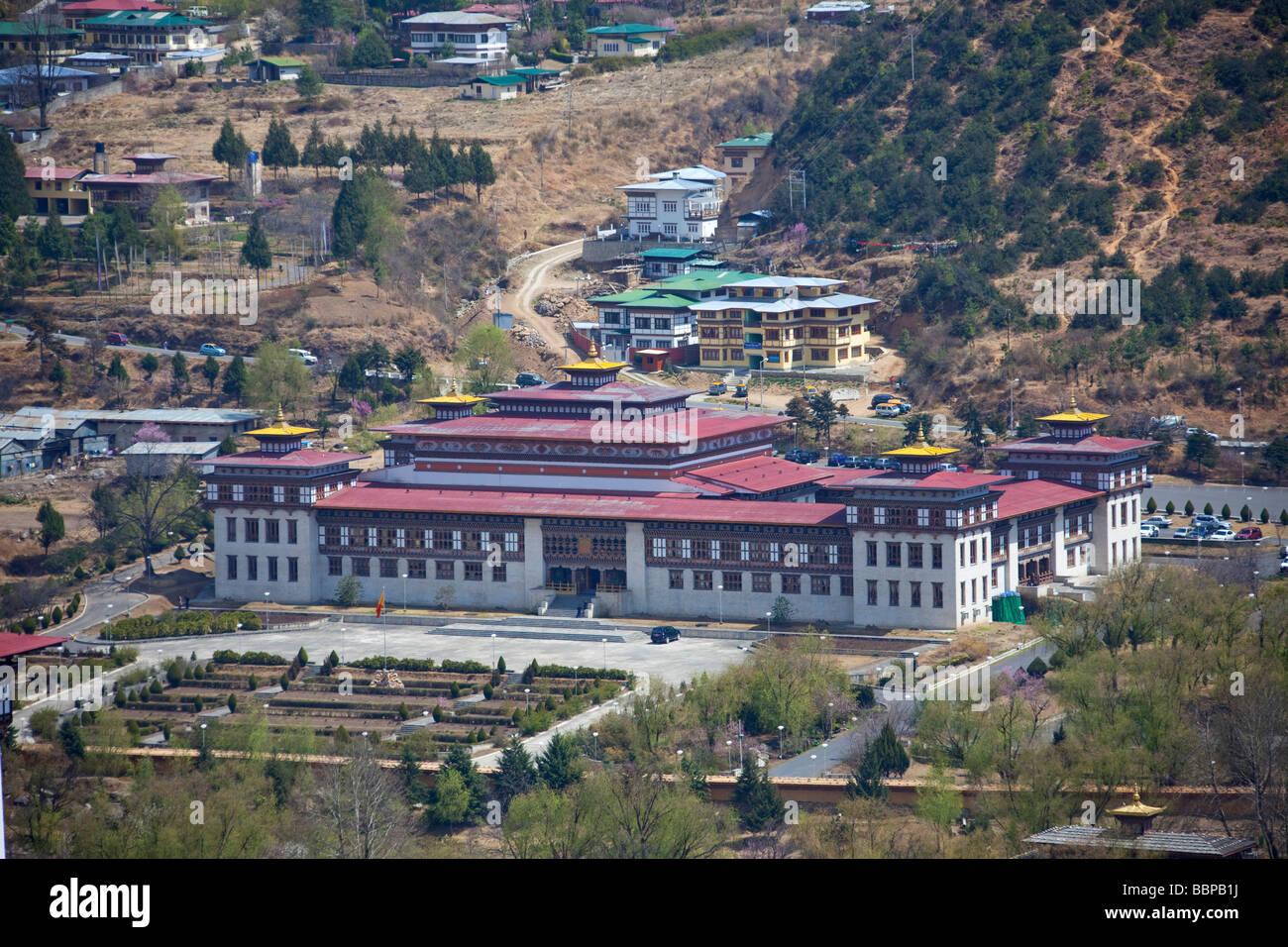 Palais Royal du Roi du Bhoutan Assemblée Générale Tashi Chho Dzong Thimphu bâtiments Photo Stock