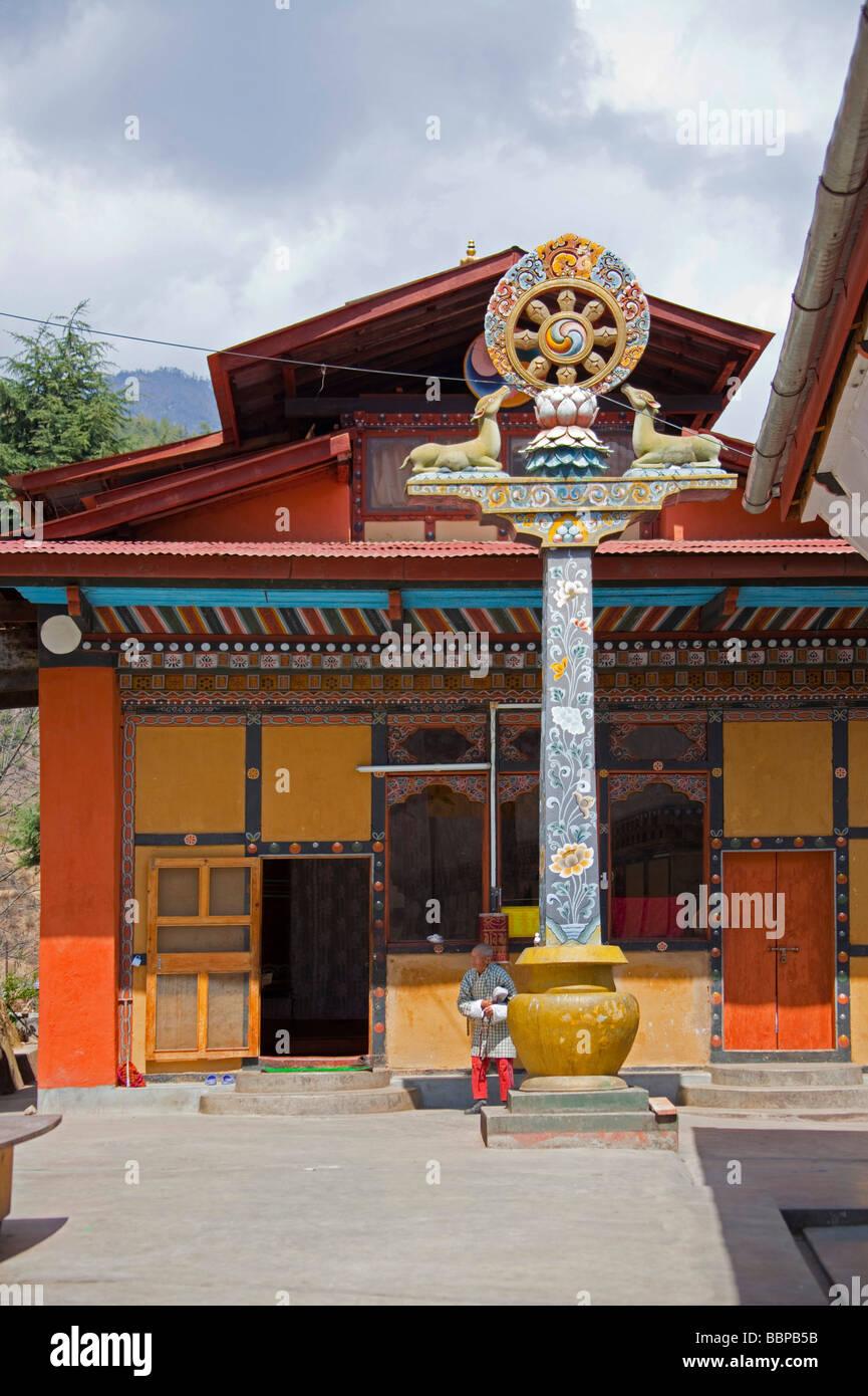 Prier la prière de l'homme tenue à Tashi Chho Dzong, Thimphu, Bhoutan Asie Photo Stock