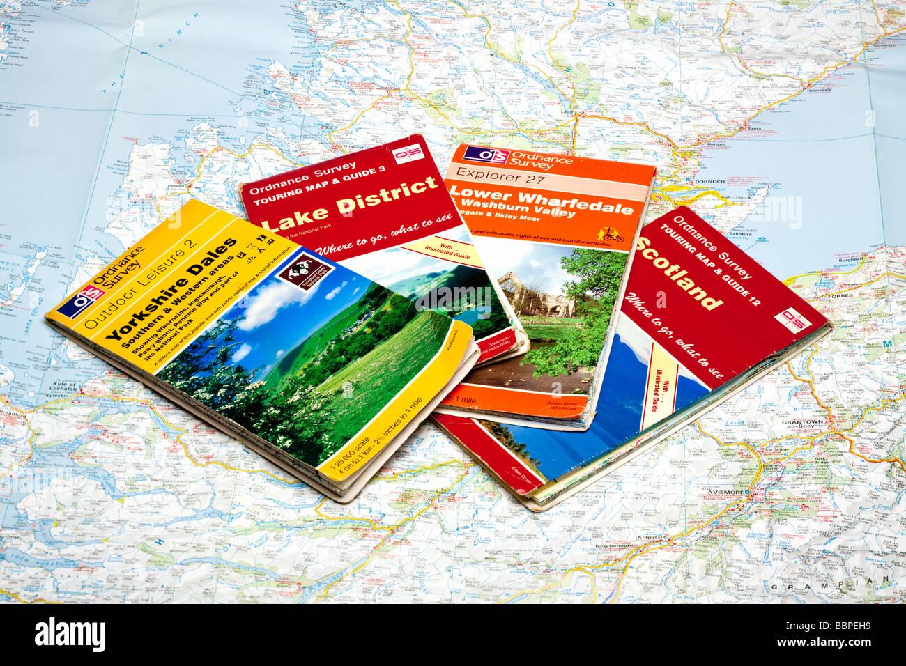 Ensemble de quatre cartes Enquêtes explosées sur une carte de l'Ecosse Photo Stock