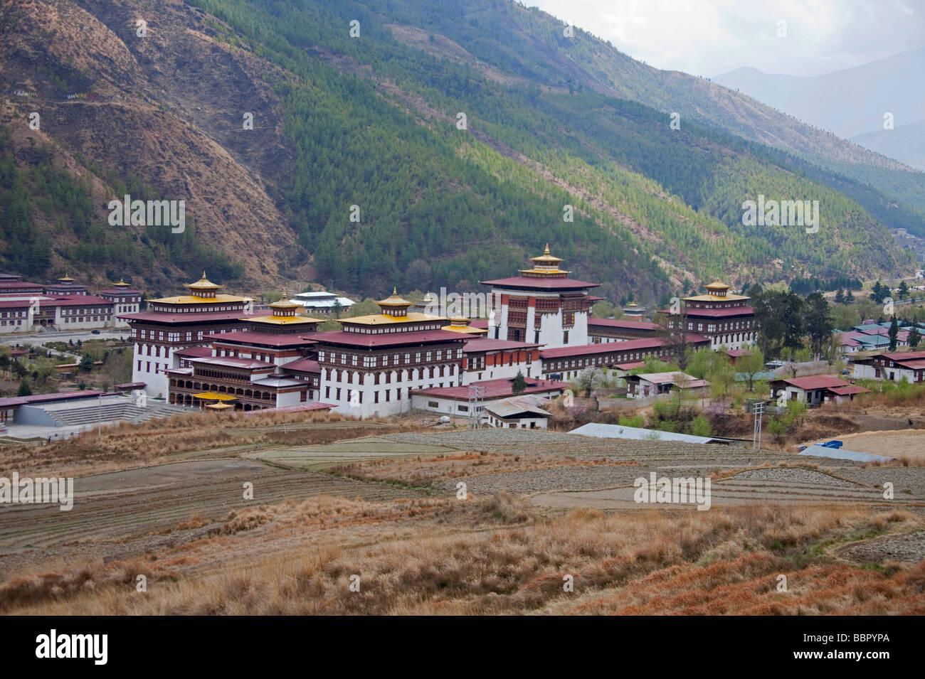 Palais Royal du Roi du Bhoutan building Tashi Chho Dzong Thimphu 91119_Bhutan-Thimphu Photo Stock