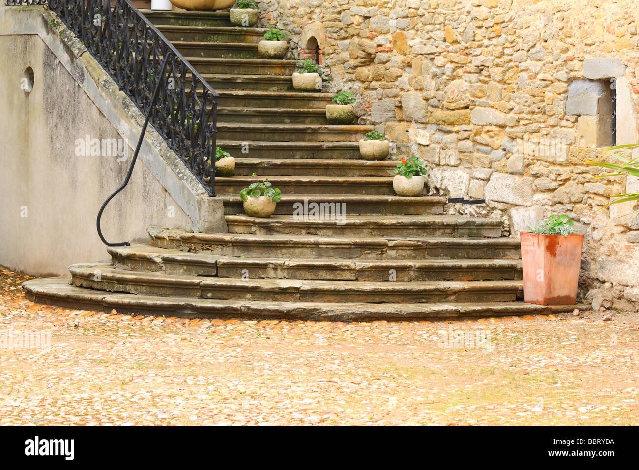 Escaliers Saint Papoul Languedoc-Roussillon France Photo Stock