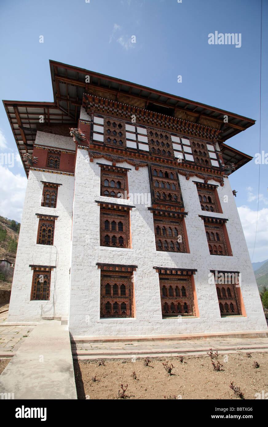 Bâtiment de la Bibliothèque nationale du Bhoutan Tashi Chho Dzong Thimphu Photo Stock