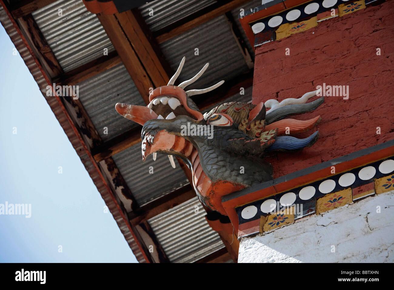 Détails de Thunder dragon head à la Bibliothèque nationale du Bhoutan Tashi Chho Dzong Thimphu bâtiment Photo Stock