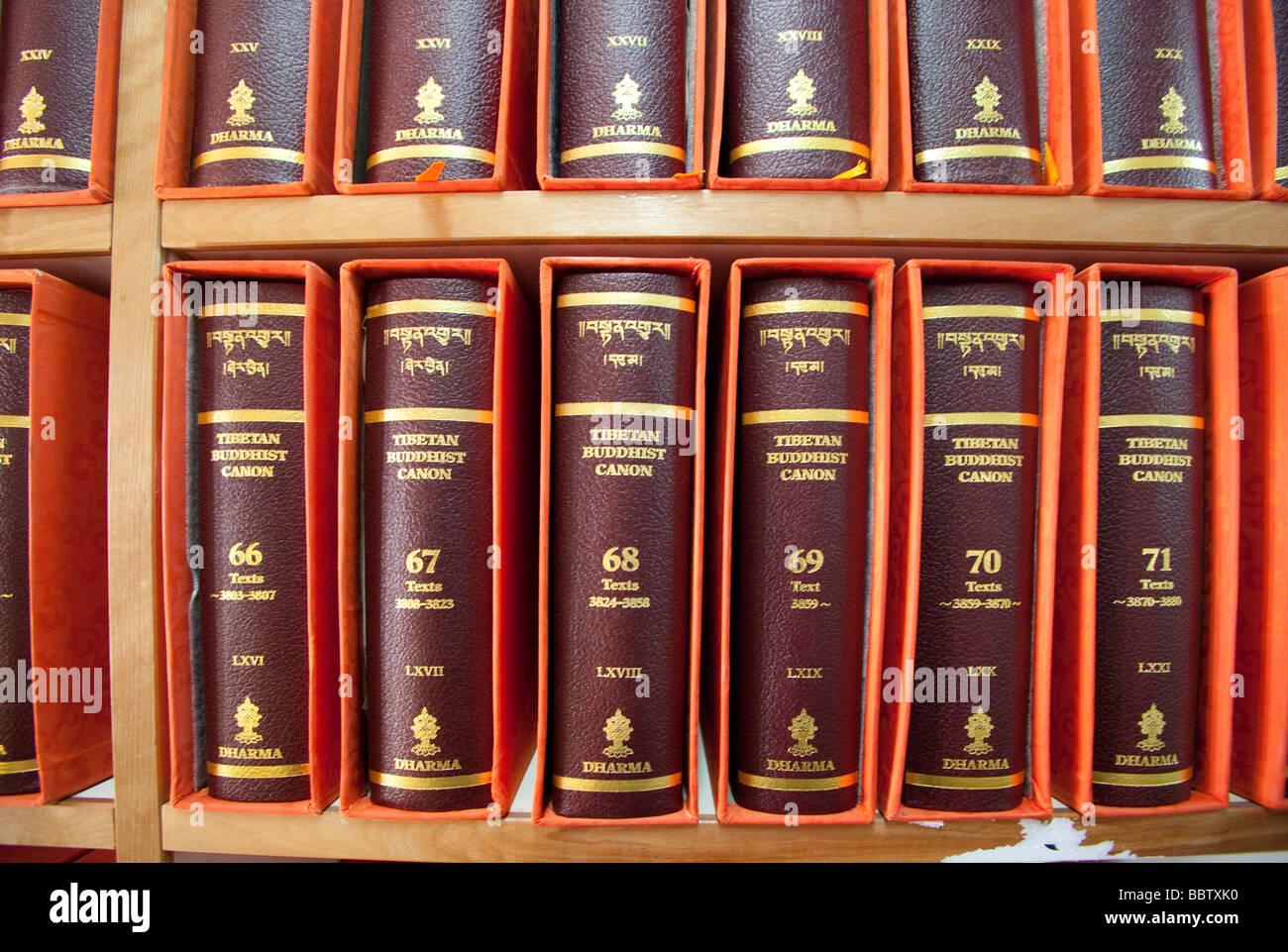 Collection de documents anciens des livres reliés en cuir rouge, bouddhisme, Bibliothèque nationale du Photo Stock