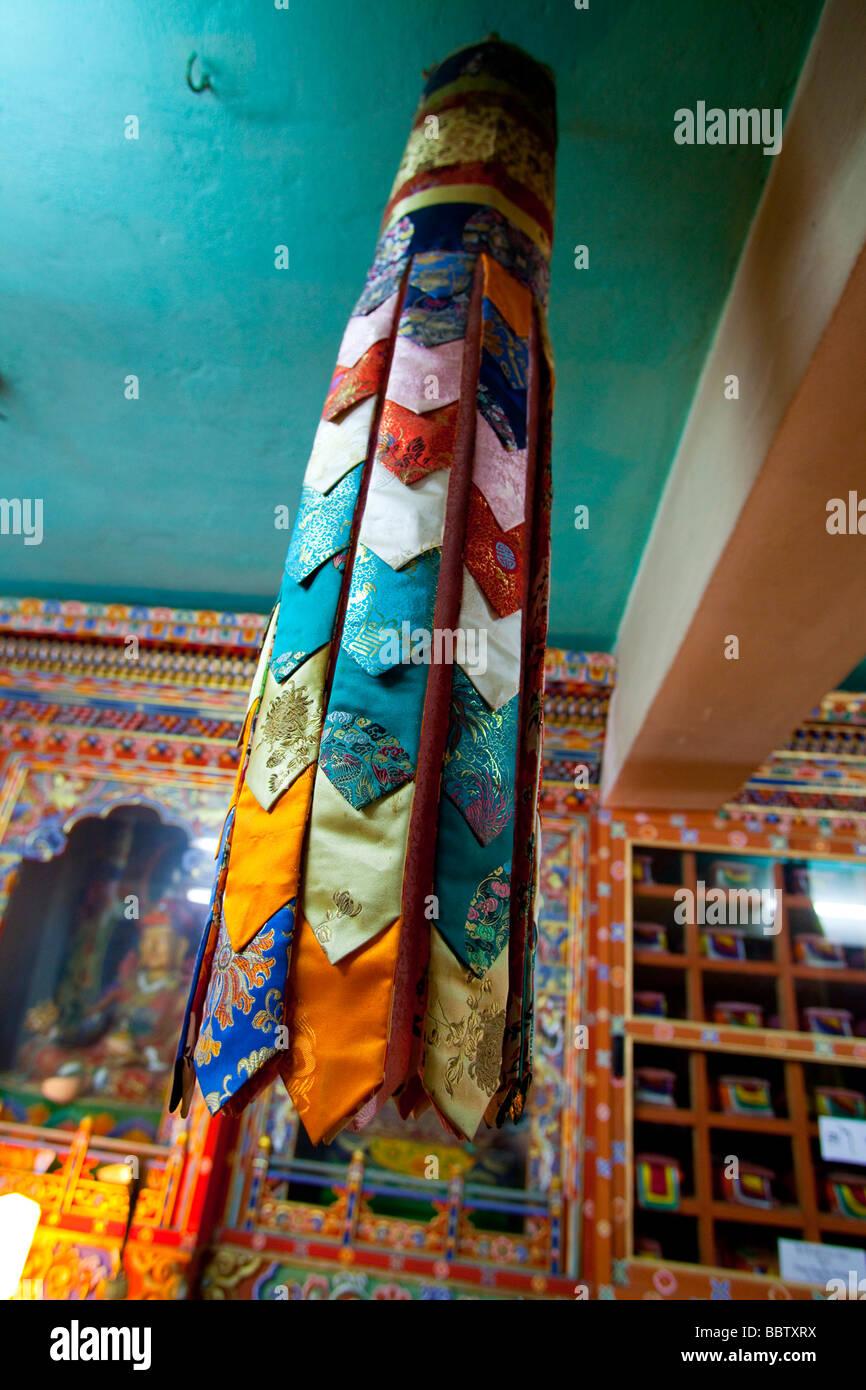 Collection de liens de soie religieuses, Bibliothèque nationale du Bhoutan Tashi Chho Dzong Thimphu Photo Stock