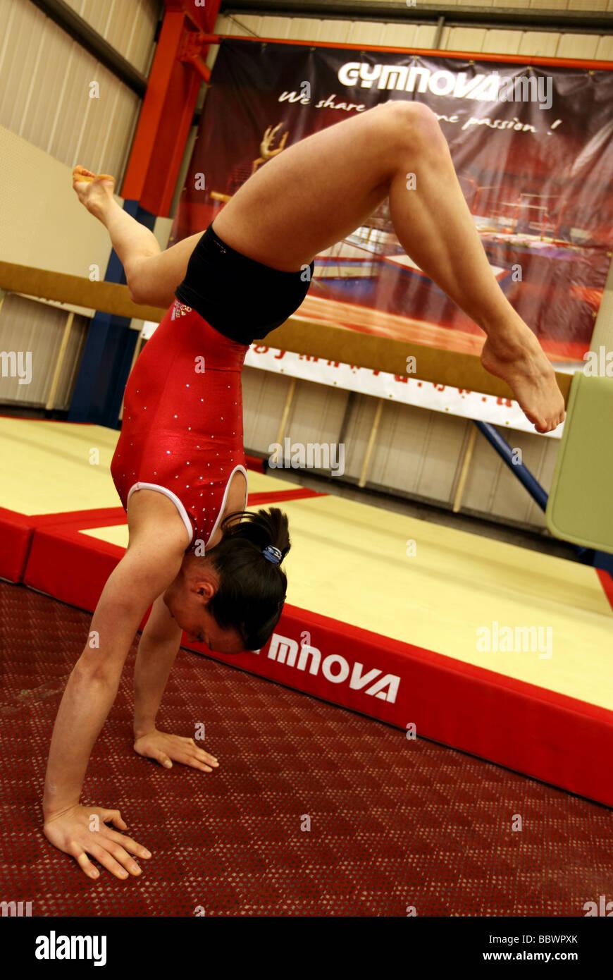Européenne de Gymnastique Double champion Beth Tweddle à un site d'entraînement près de Photo Stock