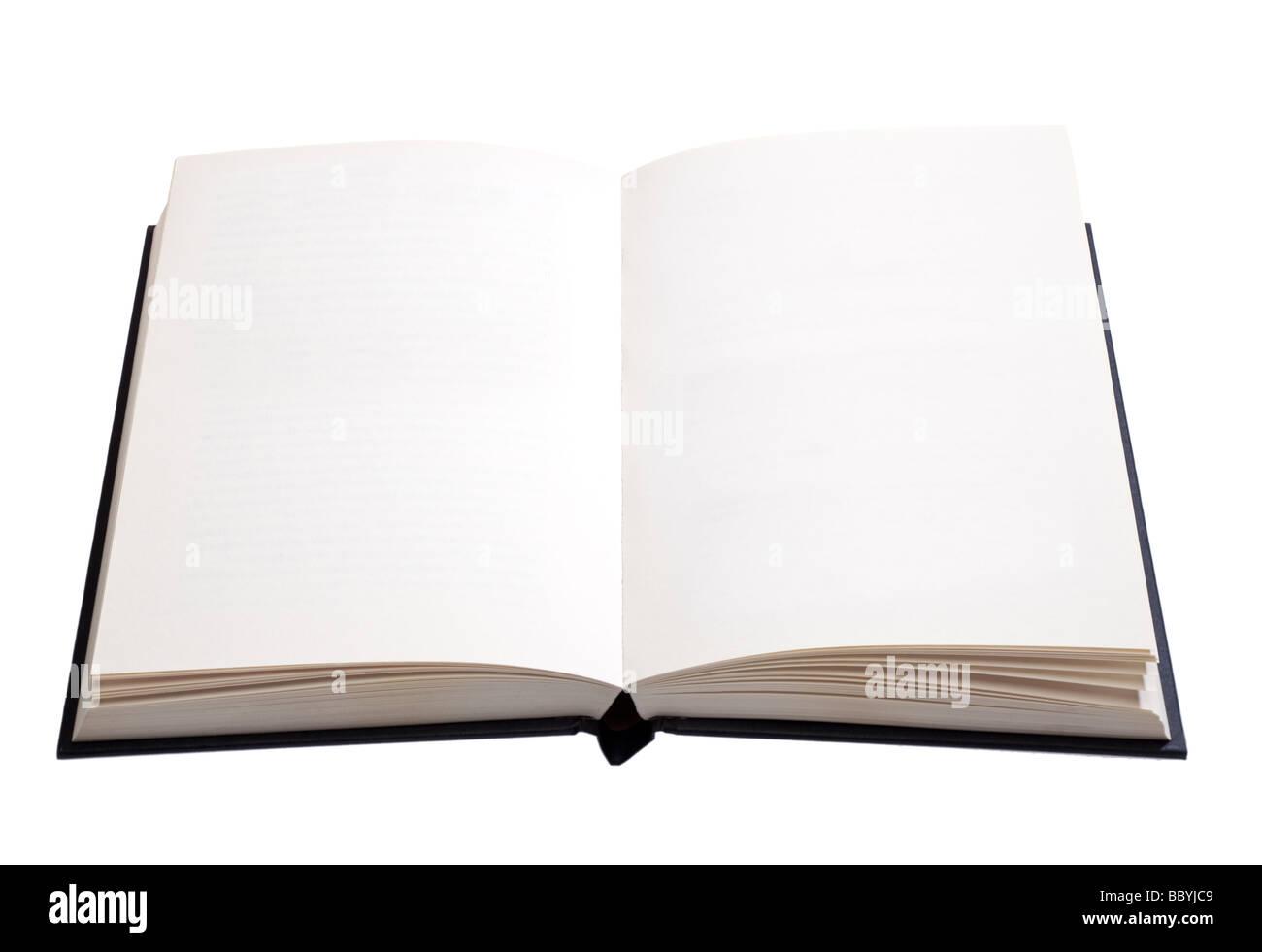 Livre ouvert, avec des pages vierges blanches - cut out Photo Stock