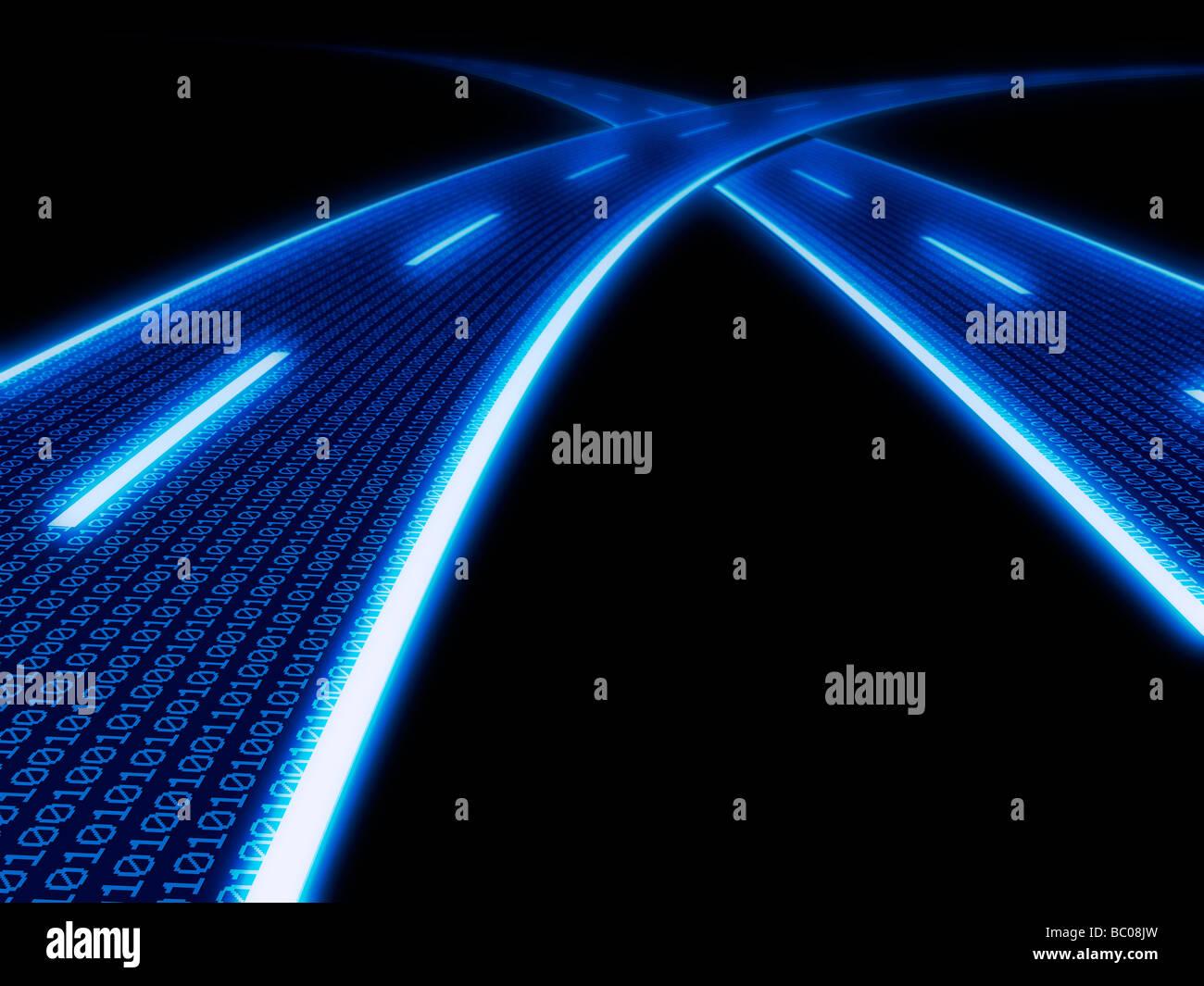 Autoroute de l'information - illustration conceptuelle générée par ordinateur. Photo Stock