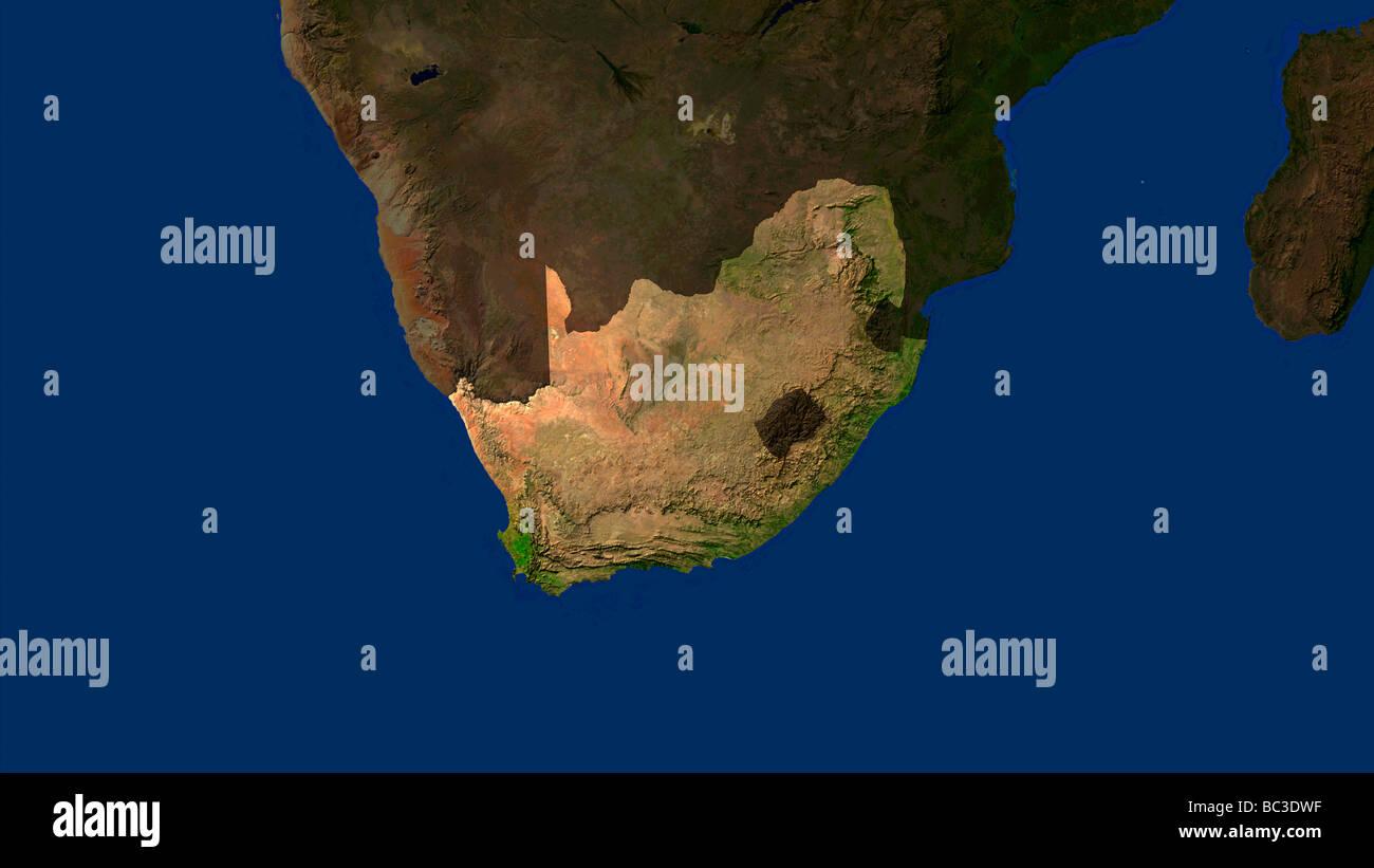 Carte Satellite Afrique Du Sud.Image Satellite De La Republique D Afrique Du Sud Avec Les