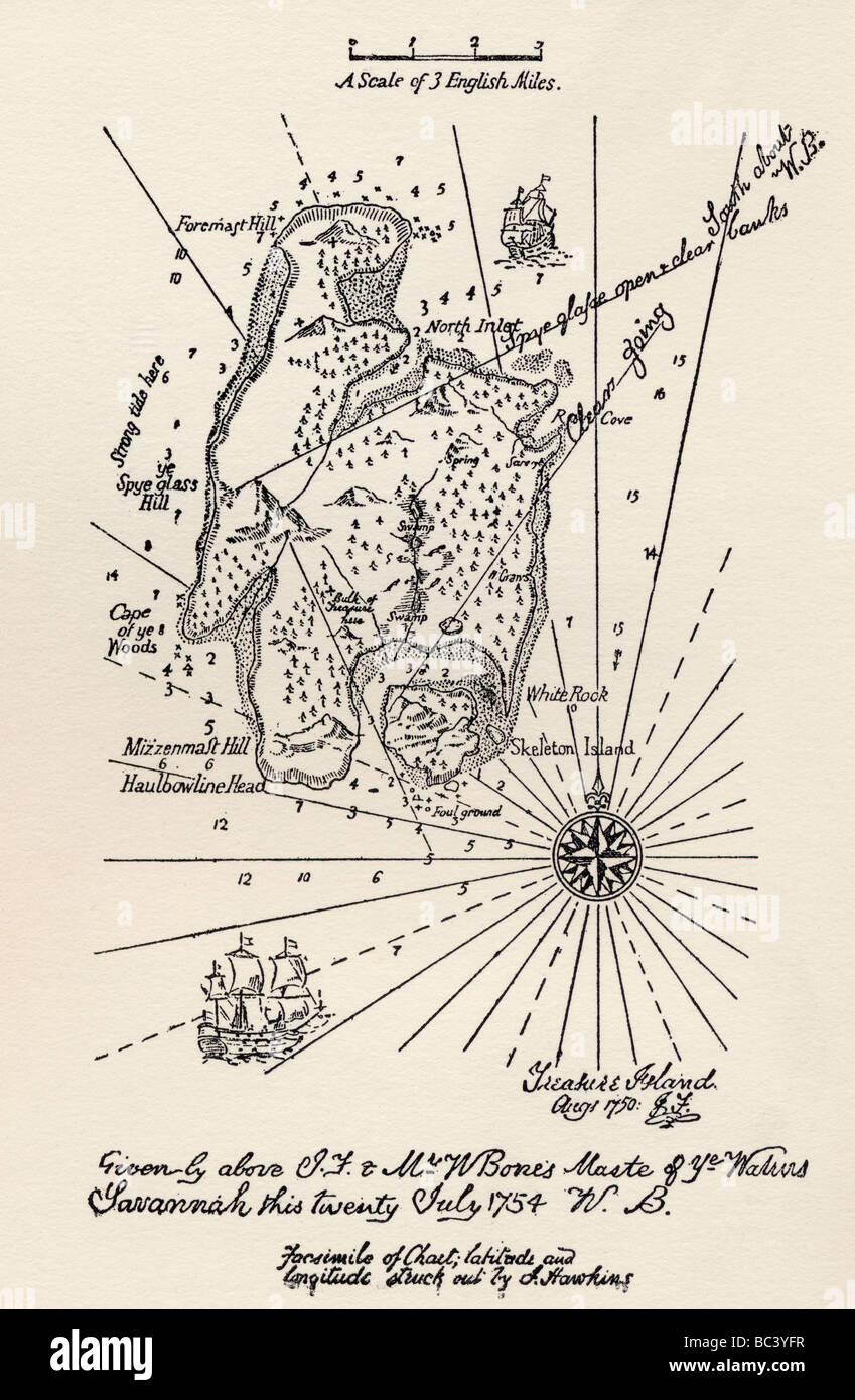 Plan de l'île au trésor. Photo Stock