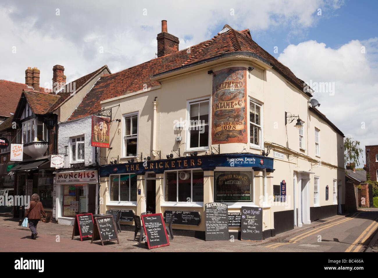 Canterbury Kent England UK Europe Le Cricketers pub dans le centre-ville Photo Stock