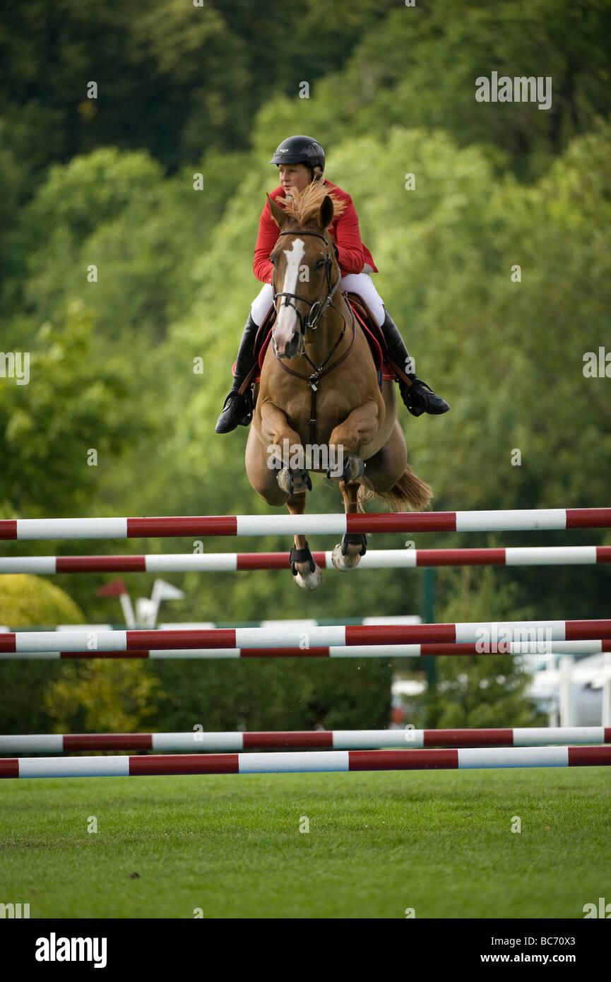 Jo payer remporte le Derby Hickstead 2009 Procès. Photo Stock