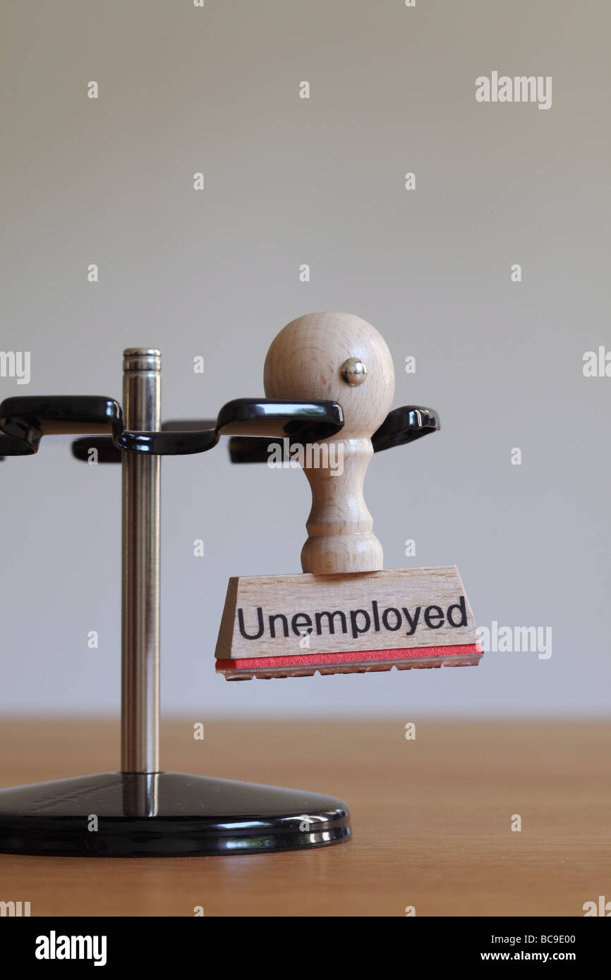 Stamp avec l'inscription au chômage Photo Stock