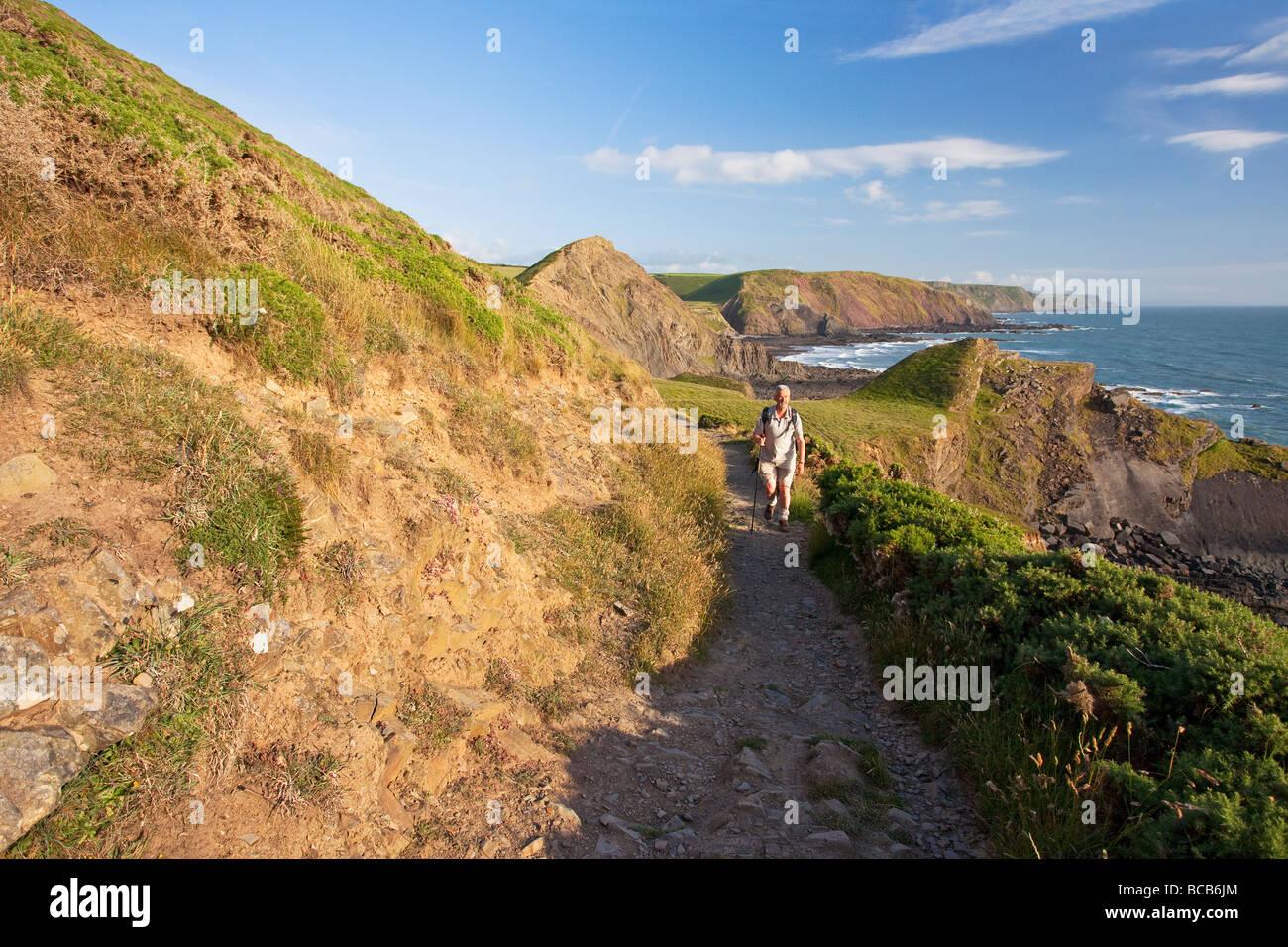 Dans l'homme d'âge moyen 50 ans marchant à Hartland Quay sur le sentier du littoral de la bouche Photo Stock