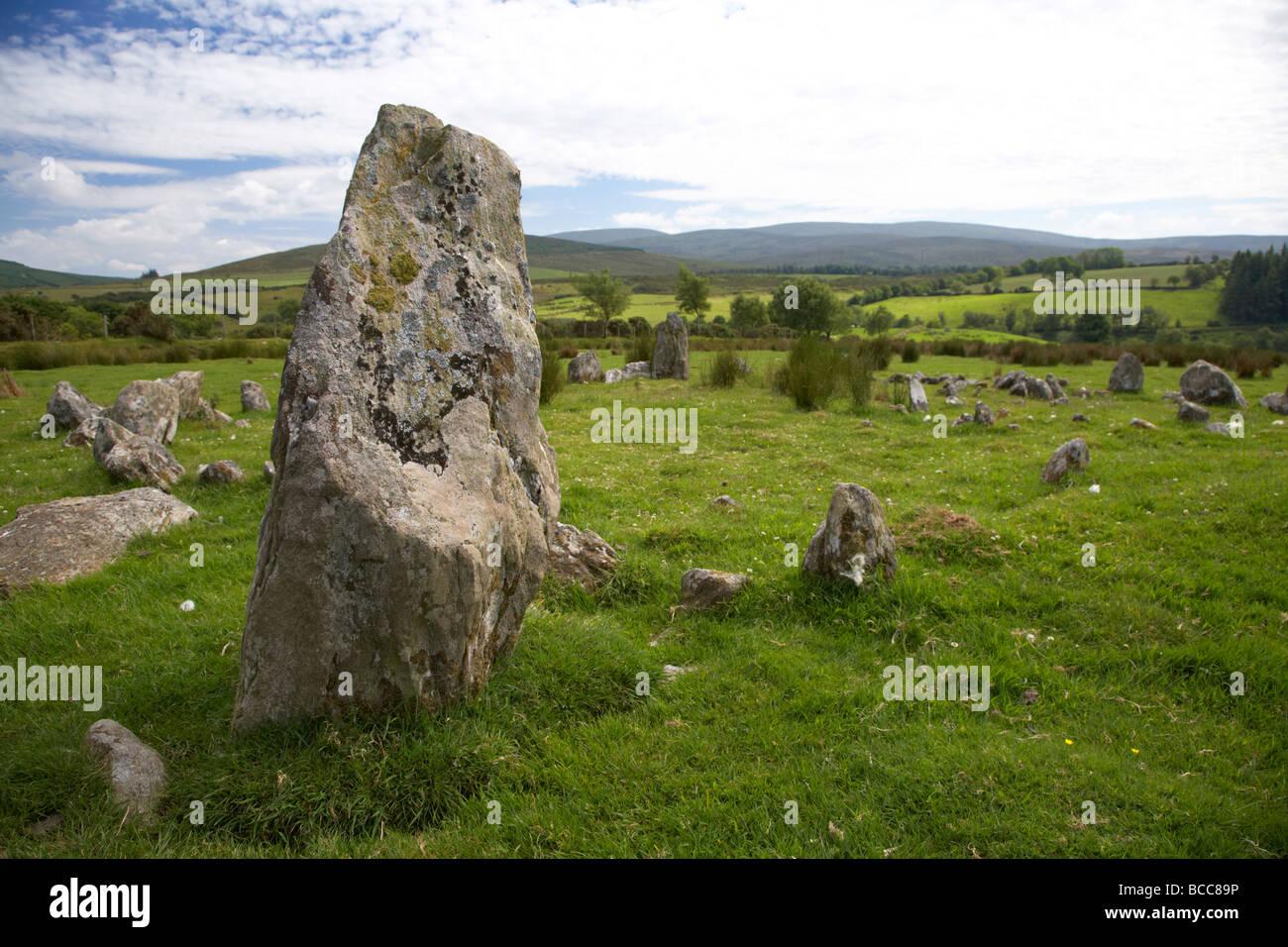 Les cercles de pierre Aughlish comté de Derry Londonderry en Irlande du Nord uk Photo Stock