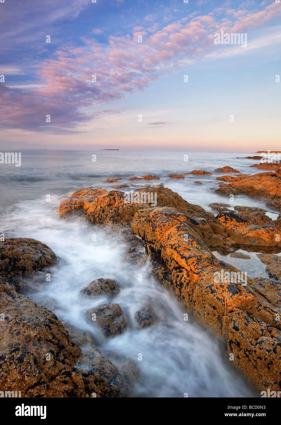 Côte Rocheuse avec iles Farne sur l'horizon. Lunteren. Le Northumberland. L'Angleterre Photo Stock