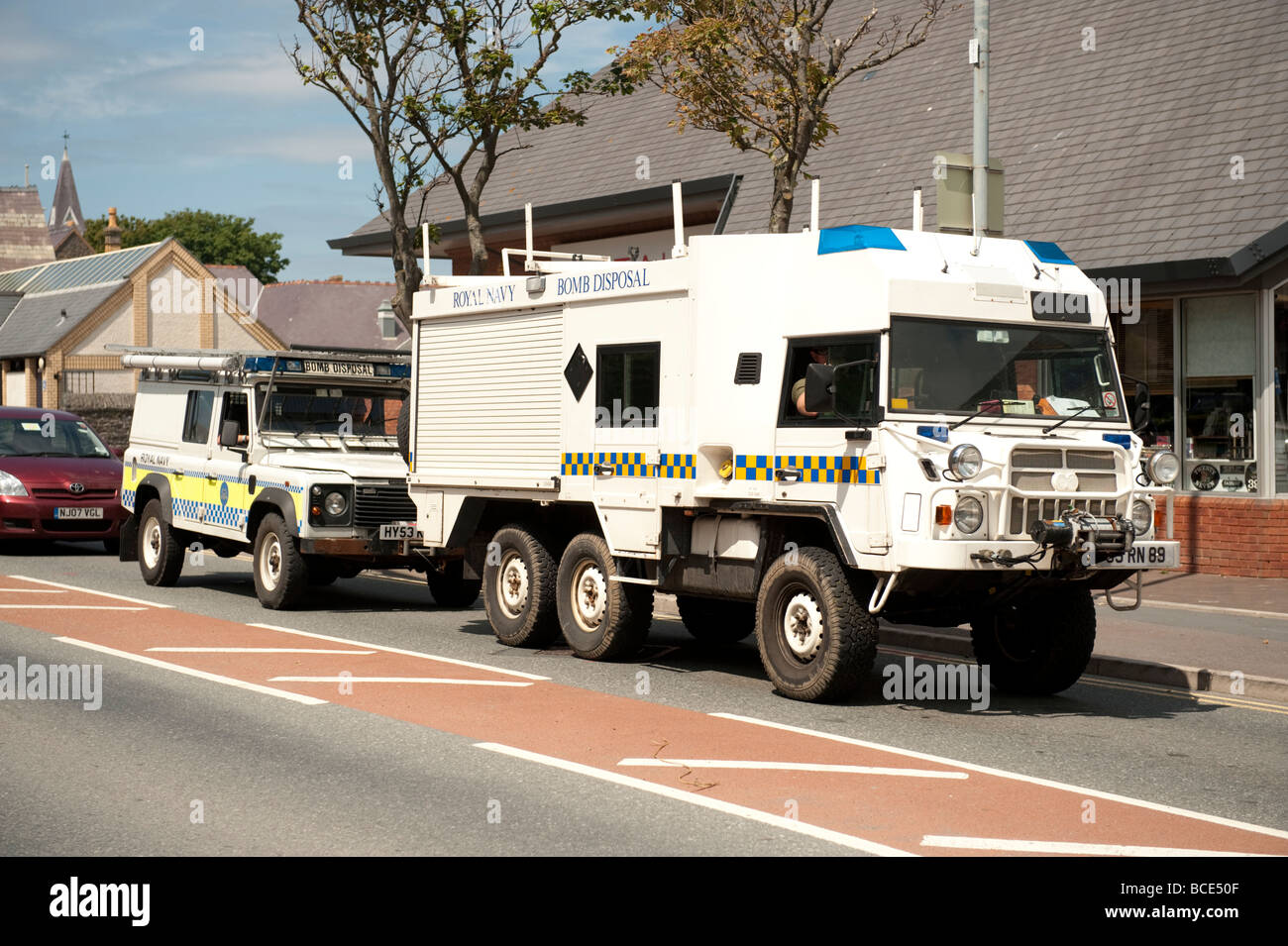 La Marine britannique Bomb Disposal véhicules Photo Stock