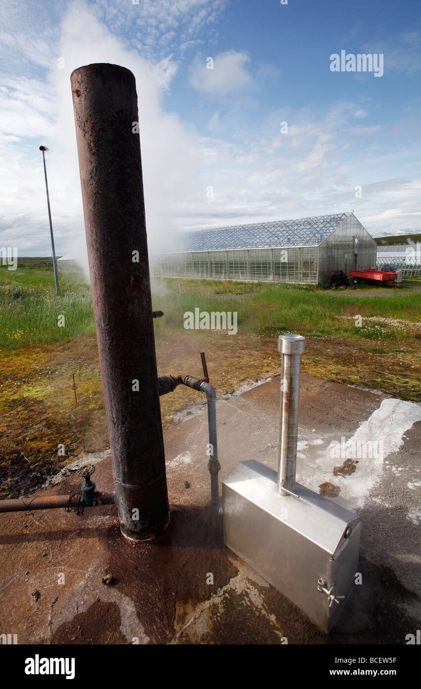 Un forage géothermique fournit aux exploitants de serres, de l'Islande Photo Stock