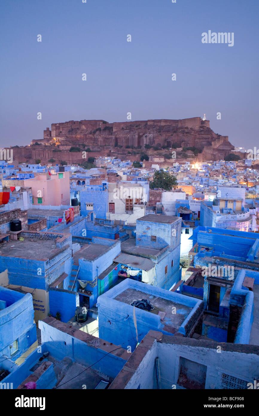 Les toits, Jodhpur (la Ville Bleue), Rajasthan, Inde Banque D'Images