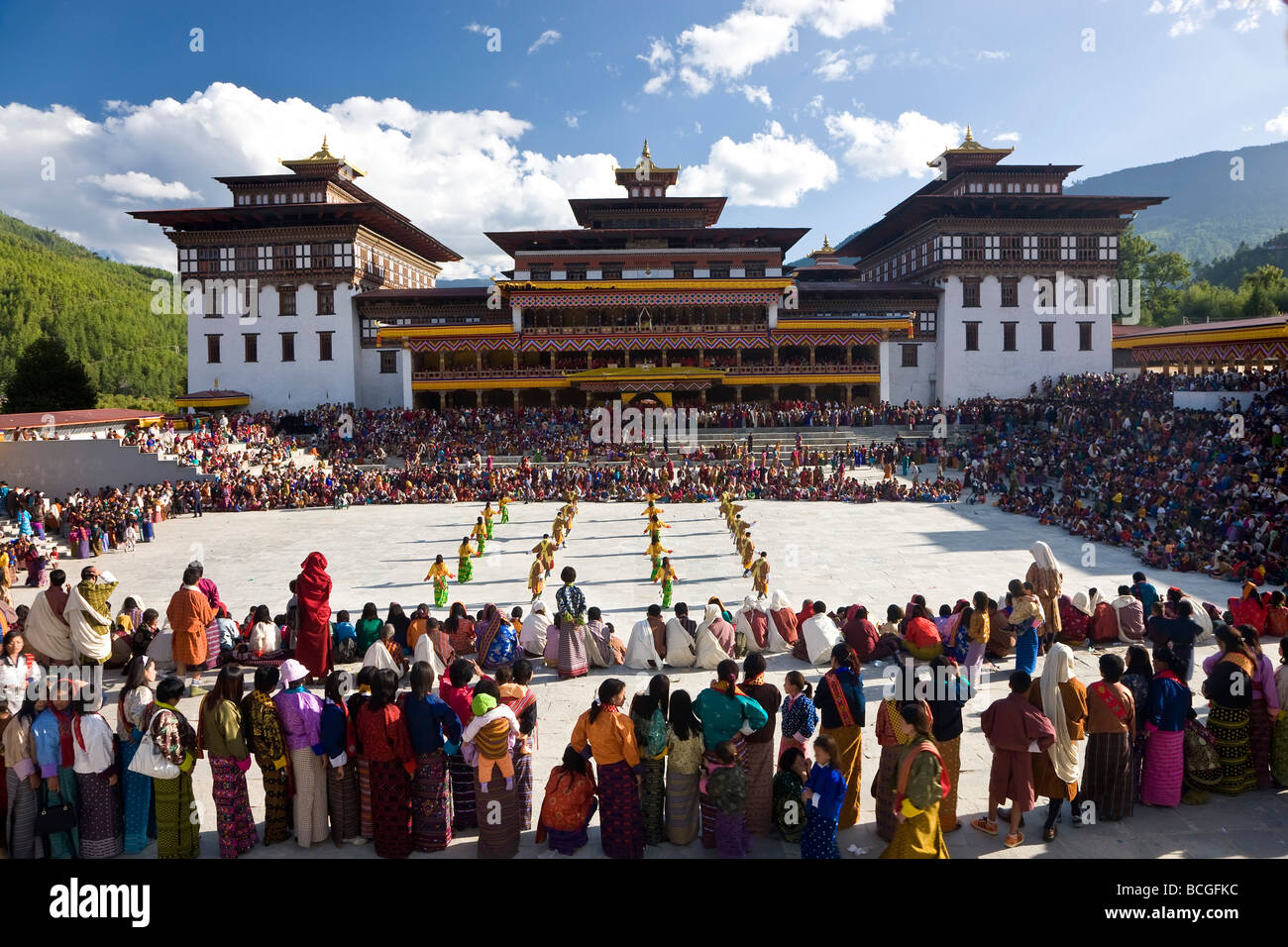 Trashichhoe Festival monastère Thimpu Dzong du Bhoutan Photo Stock