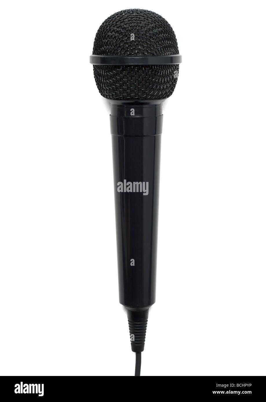 Microphone sur fond blanc Photo Stock
