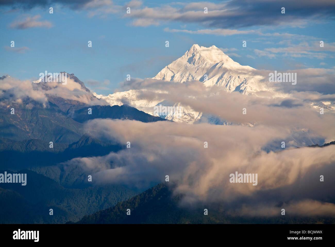 L'Inde, le Sikkim, Gangtok, Tashi de Vue, Vue de Kanchenjunga, gamme Kangchendzonga Photo Stock