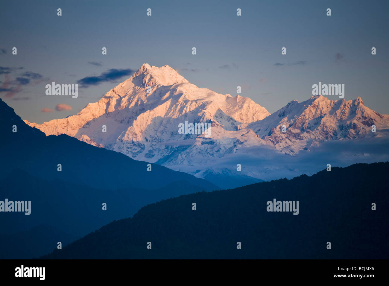 L'Inde, le Sikkim, Gangtok, Ganesh Tok Vue, Vue de Kanchenjunga, gamme Kangchendzonga Photo Stock