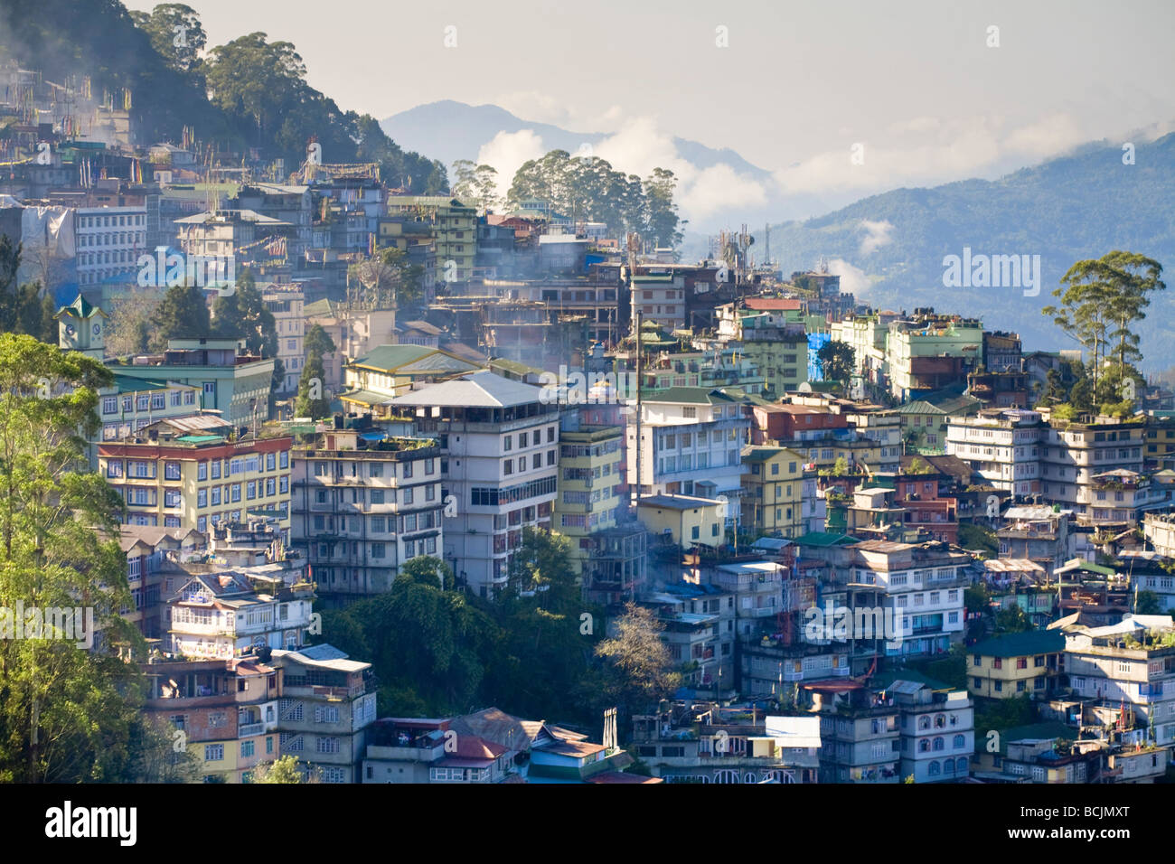 L'Inde, le Sikkim, Gangtok, vue de la ville de Tashi Viewpoint Banque D'Images