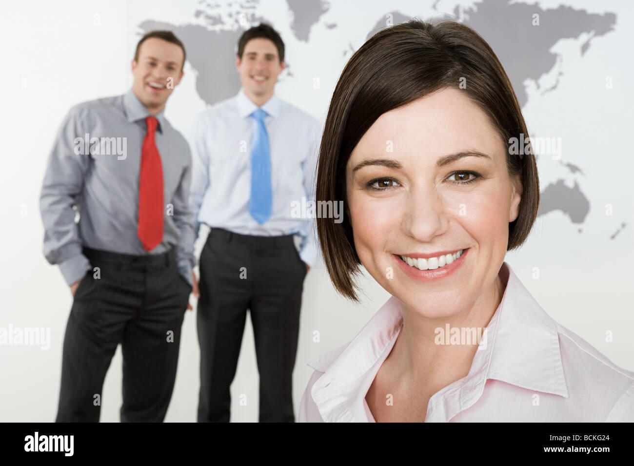 Femme d'affaires et commerçants Photo Stock
