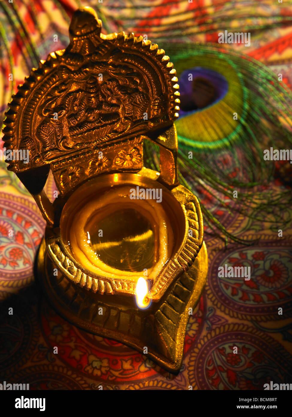 Vue De Dessus D Une Lampe A Huile Traditionnelle Indienne Banque D