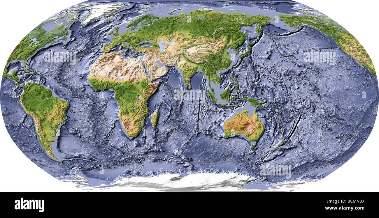 Carte De Linde Relief.Carte Du Monde Carte De Relief Avec L Ombre De L Ocean