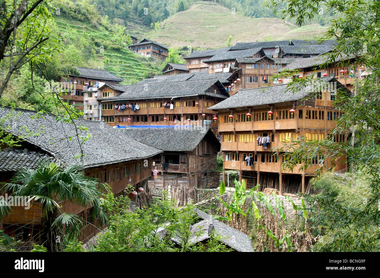 Pingan Zhuang du Guangxi Longsheng village minoritaire Chine Photo Stock