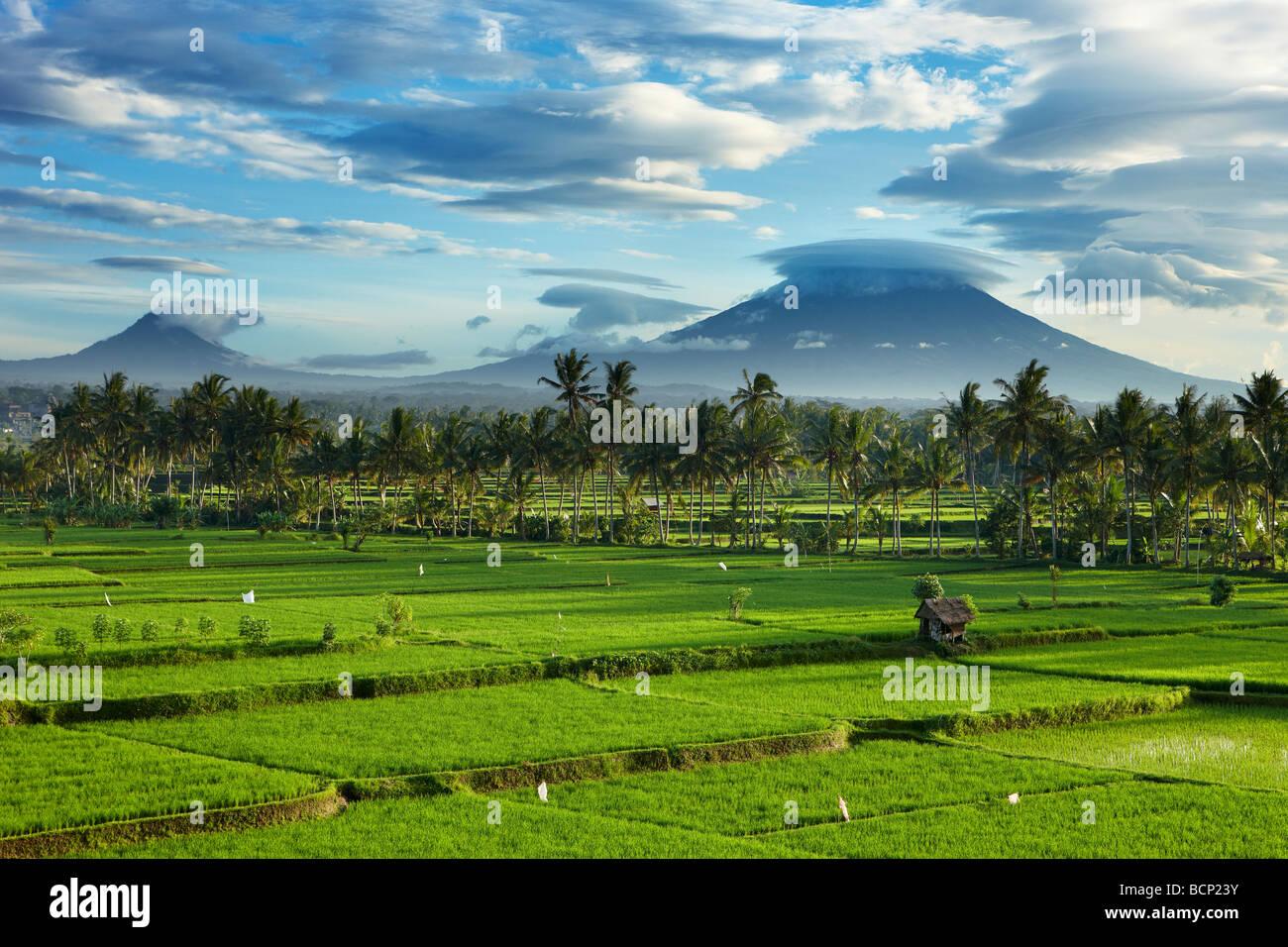 Les nuages de tempête au cours de la compensation pic volcanique de Gunnung Anung et les champs de riz, près Photo Stock