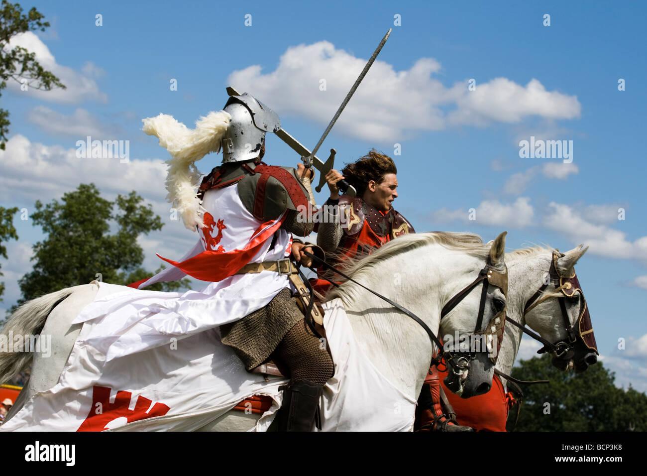 Joutes chevaliers/combats à l'épée à cheval au pays de Lambeth Show de Londres Angleterre Photo Stock