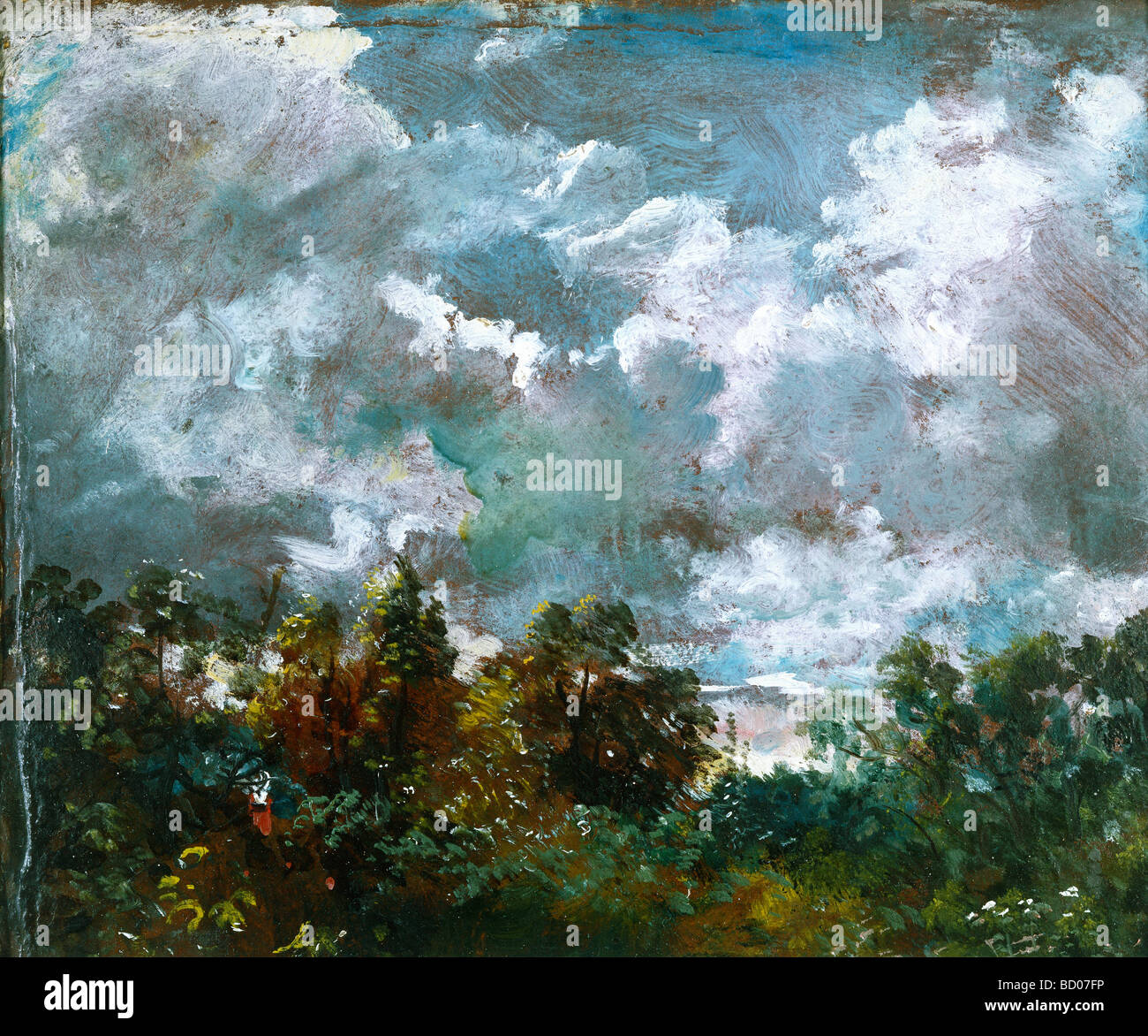 Étude de ciel et les arbres, par John Constable. Londres, Angleterre, 1821-1822 Photo Stock