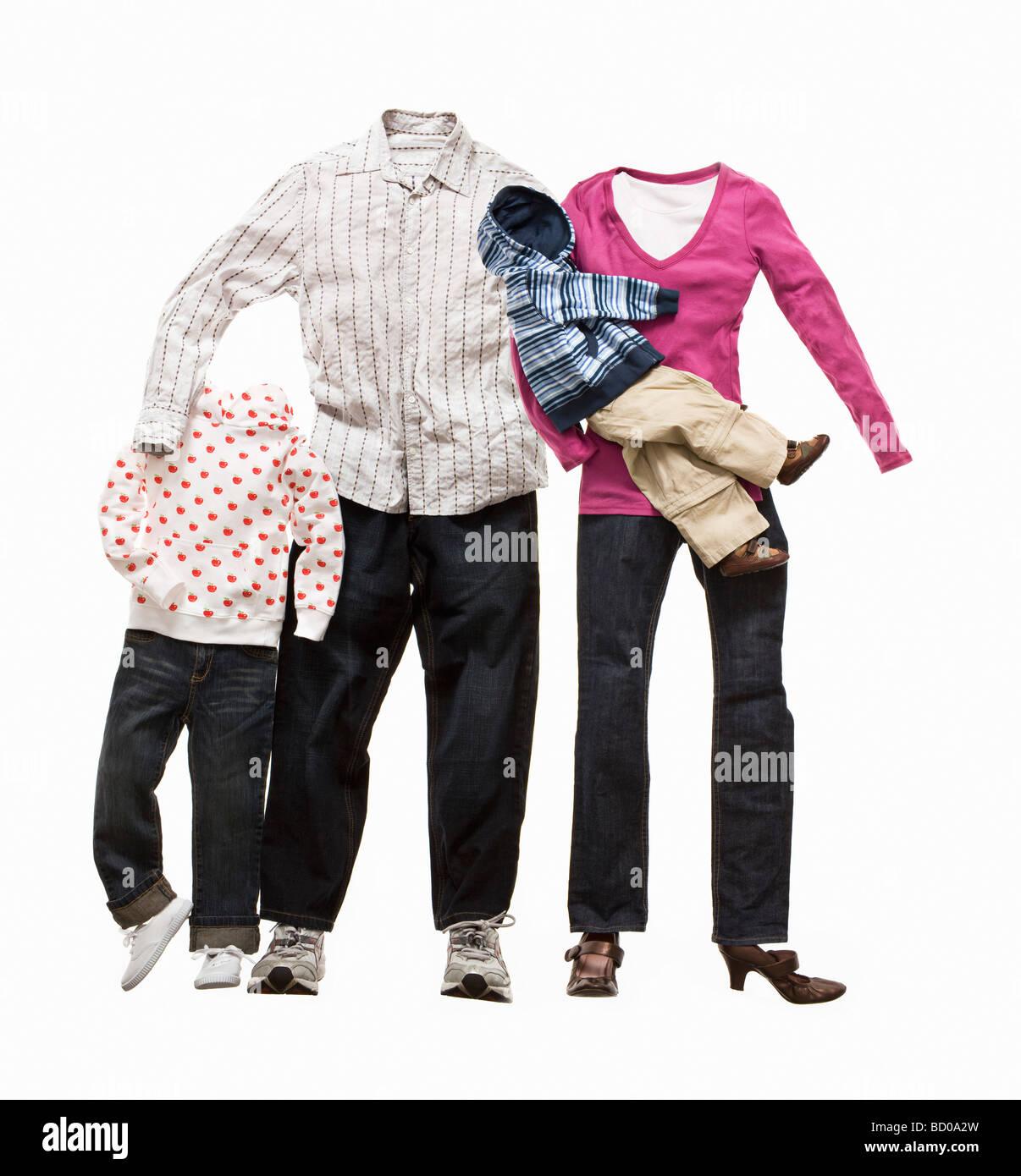 Une famille faite de vêtements Photo Stock