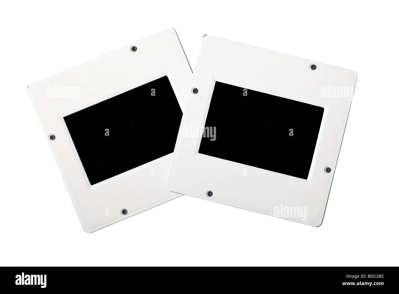 Les diapositives en plastique vintage isolé sur fond blanc Banque D'Images