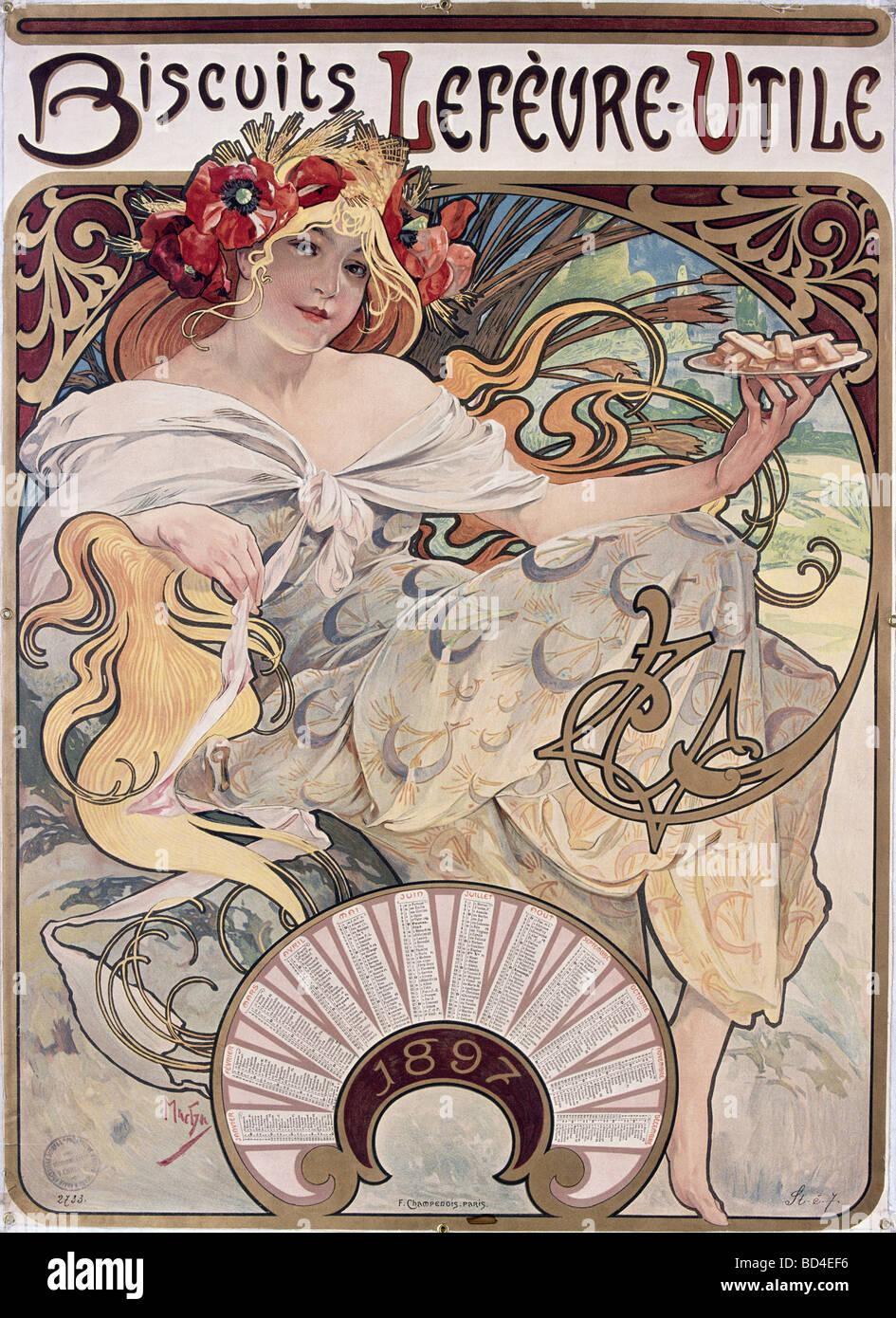 Beaux-arts, Mucha, Alfons (1860 - 1939), affiche, 1897, la publicité pour des biscuits Lefevre-Utile, Lefevre Utile, Art Nouveau, Alph Banque D'Images