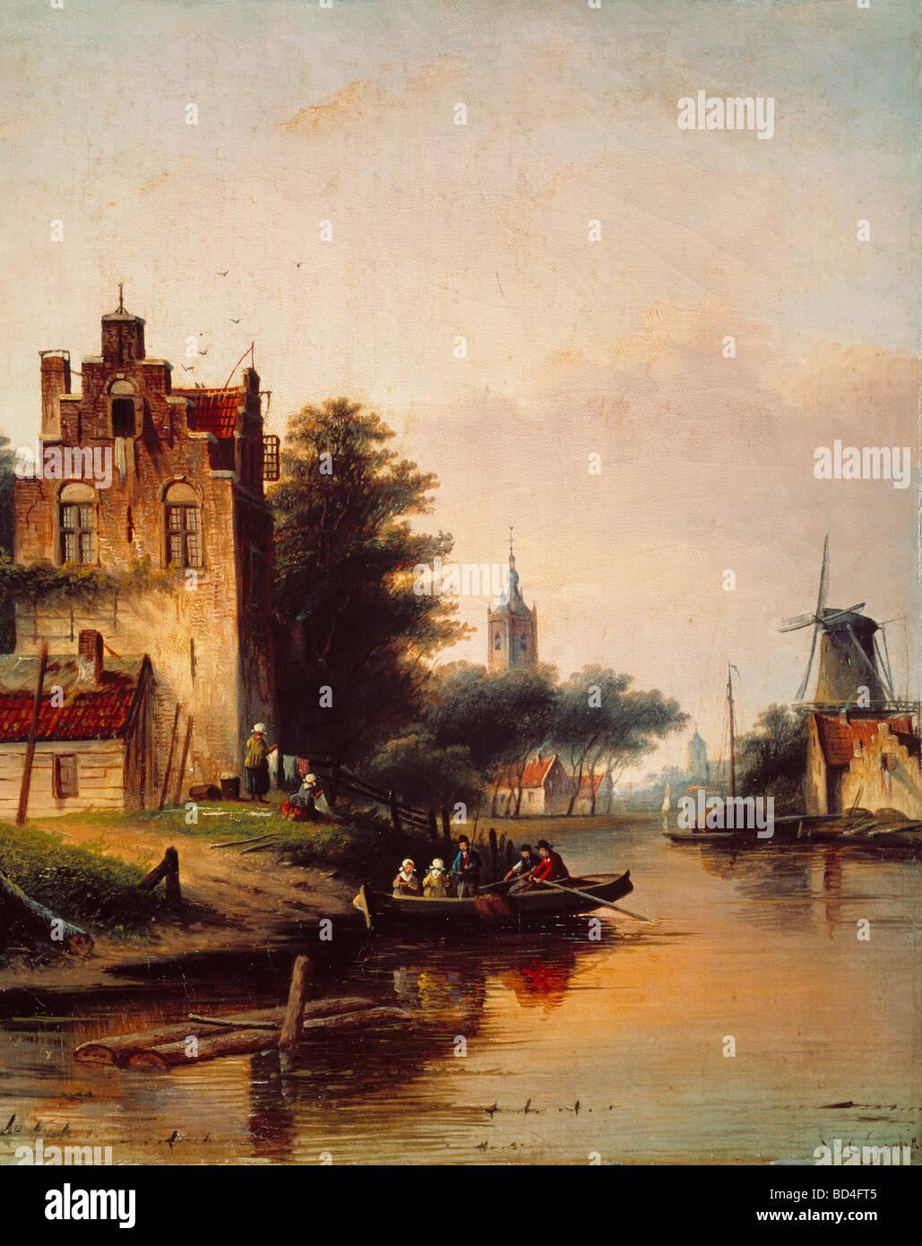 Beaux-arts, Spohler, Jan Jacob (1811 - 1879), peinture, voyage en bateau, Néerlandais, péniche, loisirs, Photo Stock
